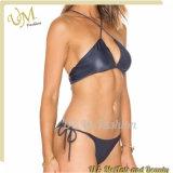 Two Pieces Swimwear Sexy Open Lady Leather Micro Mini Bikini