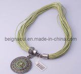Exotic Necklace, Green Stone Round with String Rope Necklace (WWNFM00160)