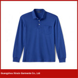 Custom-Made Blue Printing Promotional Long Sleeve Polo Shirts (P69)