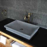 Dark Gray Basalt Stone Bathroom Vessel Sink