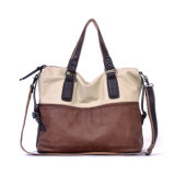 Factory Wholesale Men's Soft Handmade Fashion Contrast Color Leather Handbag Laptop Bag (077)