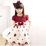 Best Seller Fashion Children Party Dress Red Flower Dress