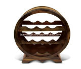 10 Bottles Wooden Holder Circle Shape Wine Rack Stand Furniture
