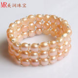 3 Rows Coins Stretched Freshwater Pink Pearl Bracelet