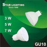 3000k 7W Aluminum Plastic GU10 LED Spotlight