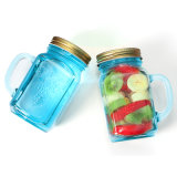 16oz Embossed Blue Mason Jar with Handle of Drinkware