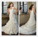 Latest Designs Full Length Mermaid Ruffles One-Shoulder Taffeta Lace up Back Sleeveless Wedding Dress 2014
