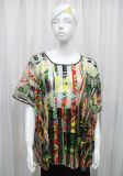 Lady Fashion Printed Polyester Knitted Spring Hollow Shirt (YKY2204)