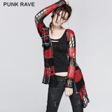 Punk Rave Sexy Gothic Knit Sweater Designs for Girls (M-004/BK-RD)