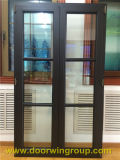 Brown Color Aluminum Wood Windows with Grills