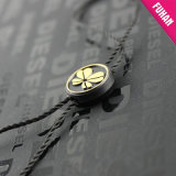 Pure Black Background and Gold Flower Round Plastic Tag