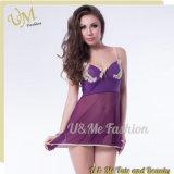 Purple Chiffon Bowknot Sexy Pajamas Lingerie for Girls
