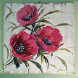 Handpainted Beautiful Three Red Flower Scenery Oil Painting (LH-033000)