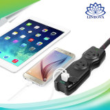 2 AC Outlets and 2 USB Quick Charger Port Extension Power Strip Socket for Traveling Outside Business