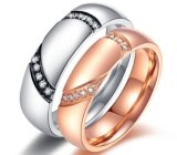 CZ Stone Couple Ring Mirco Inlay Zircon Stainless Steel Plating Lovers Ring Color Preserving for a Long Time