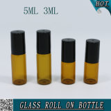 3ml Round Amber Glass Roll on Steel Ball Bottle with Plastic Cap 5ml