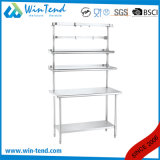 Round Tube Shelf Reinforced Robust Construction Kitchen Ss Prep Table with Height Adjustable Leg