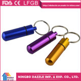 Pill Case Small Aluminium Portable Pill Box with Keychain