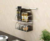 Wall Hanging Stainless Steel Kitchent Double Layer Holder Spice Shelf Gfr-307