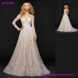 Pink Bridal Wear China Supplier Long Sleeve Lace Wedding Dresses