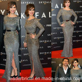 Elie Saab Formal Prom Party Gowns Long Sleeve Stones Gray Celebrity Evening Dresses Es12