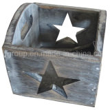 Customized Home Decorative Wooden Candle Holder with Rustic Finishing
