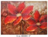 Large Size Size Hand Painted Modern Abstract Red Flower Oil Painting on Canvas (LH-700567)