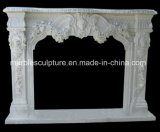 Statue Carved Antique Marble Fireplace with Flowers (SY-MF180)