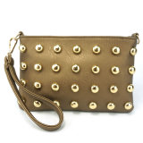 New Fashionable Cute Rivet Leather Wristlet Women Pouch Bag