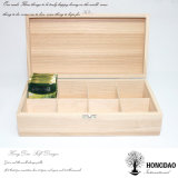 Hongdao Customized Logo Wooden Tea Box with Hinged Lid Tea Packaging Wholesale Price _E