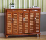 Solid Oak Wood Side Shoe Cabinet with Drawers for Living Room