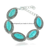 New Fashion European and American Retro Oval Turquoise Alloy Cuff Bangle Bracelet