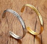 Personalized Stainless Steel Wheat Open Cuff Bracelet