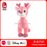 Pink Plush Deer Stuffed Animal with Embroidery Eyes