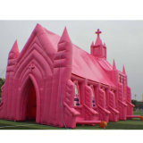 Pink Color Giant Inflatable Church Castle for Wedding Rental