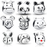 100% 925 Sterling Silver Charms, , Mickey, Minnie, Panda, Winnie, Cat, Rabbit, Calf, Dog, Reindeer Rudolph, Beads for Bracelet DIY