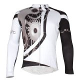 White&Black Men′s Windproof Long Sleeves Winter Thermal Cycling Jersey
