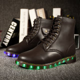 LED Flashing Light up Woman Boots 2017 Winter, Womens Leather Boots