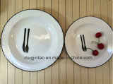 Logo Printing Enamel White Saucer Fruit Plate Thickness for 0.5mm 22cm