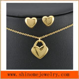 Shineme Jewelry 316L Stainless Steel Fashion Gold Plated Necklace with Ear Stud (SSNL2646)