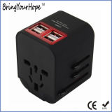 Black Universal Travel Power Adaptor with 4 USB Charger (XH-UC-014)