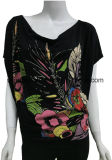 Loose Bat-Wing Sleeve Black T Shirt for Women with Rubber Print