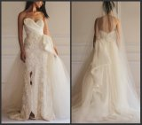 Lace Organza Bridal Formal Gown Sheath Strapless Wedding Dresses We15