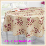Plastic PEVA Printed Tablecloth with Flannel Backing (TJ0281)