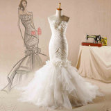 Strapless Flower Taffeta Organza Mermaid Wedding Dress