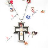Fashion Silver Cross Locket Pendant Necklace for Christians Gift (L-136)