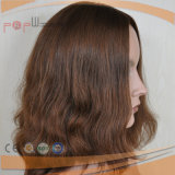 Charming Fringe Bangs Warm Brown Color High End Skin Top Full Hand Tied Lace Wig