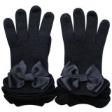 Lady Fashion Ribbon Bow Wool Knitted Winter Warm Gloves (YKY5468-2)