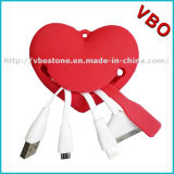2016 Creative Gift USB Cable Portable Heart Shape 3 In1 Univeral Multi Charging Cable with Smile Face