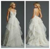 V-Neck Organza Bridal Gowns A-Line Backless Ruffles Wedding Dress (Q117)